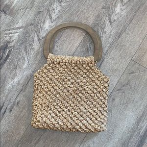 Vintage Woven bag with wooden handles